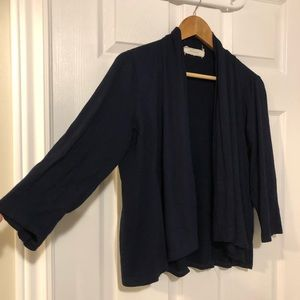 Sweaters - Navy Cropped 3/4 Sleeve Cardigan